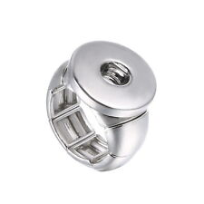 Personalize--Stretch -Mens- New Ring Snap On Chunk Button Charms Rings No Beads