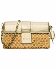 NWT Michael Kors Large Straw Gabriella Clutch Pale Gold Husk Natural Free Ship