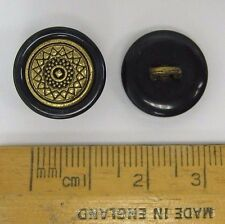 10 pack 15mm Black & Gold coloured plastic & metal shank Star Buttons Ref:5265