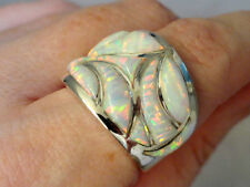 Larger Wide band Knuckle to Knuckle BRILLIANT White FIRE OPAL UNISEX Ring 8
