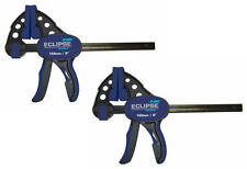 "2 x Eclipse 150mm 6"" Quick Grip One Handed Trigger G Clamp & Spreader EOHBC6X2"