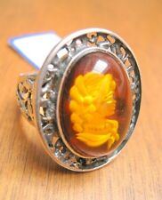 NWT Unique European Style Women Fashion Fine Sterling Silver Amber Cameo Ring