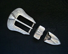 "WESTERN ANTIQUE SILVER ENGRAVED BELT BUCKLE SET FIT 1"" BELT"