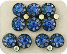 2 Hole Beads Double Wheels Capri & Sapphire Swarovski Crystal Elements QTY 5