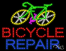 """NEW """"BICYCLE REPAIR"""" w/LOGO 26x20 SOLID/ANIMATED LED SIGN W/CUSTOM OPTIONS 21662"""