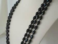 """Vintage Flapper Length Faceted Jet Black Glass Bead Necklace Hand Knotted 76"""""""