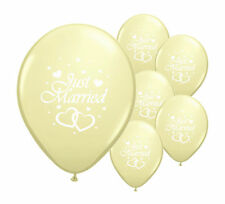 "10 JUST MARRIED IVORY 11"" HELIUM QUALITY PEARLISED WEDDING BALLOONS"