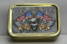 59.1ml Tobacco Tin, Cigarette, Storage, Eagle & Flag, American, Motorcycle, USA