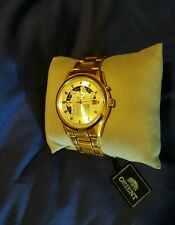 New Orient Retrograde Gold Tone Stainless Steel Automatic Watch