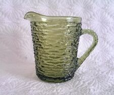 SORENO ANCHOR HOCKING VINTAGE GREEN GLASS CREAMER PITCHER 8 OZ.