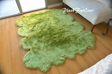 "60"" x 72"" Olive Green Sheepskin Area Rug Washable Polyester Imitate Accents Rugs"