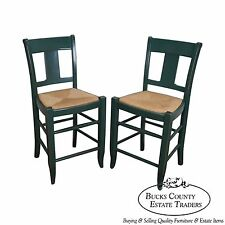 Quality Pair of French Country Style Painted Rush Seat Bar Stools