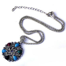 Womens White Gold Filled Multi-Color Agate Stone Flower Pendant fit Necklace