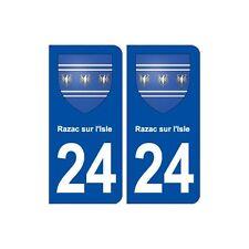 24 Razac-sur-l'Isle blason autocollant plaque stickers département droits