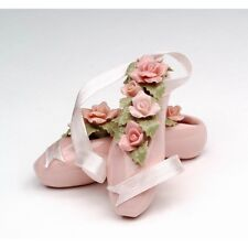 NEW MINI BALLET SLIPPERS WITH PINK+GREEN FLOWERS FINE PORCELAIN FIGURINE