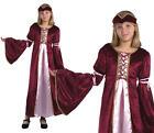 Childrens Renaissance Princess Fancy Dress Costume Tudor Medieval Outfit M