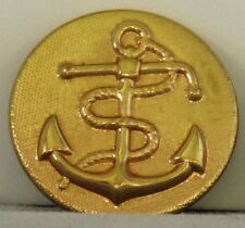 """Vintage MILITARY Old BRASS Metal Shank BUTTONS with ANCHOR & ROPE 7/8"""" diameter"""