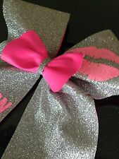 GLITTER CHEERLEADING CHEER BOW + HAVE ANY NAME PRINTED FOR FREE ON IT