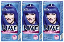 Schwarzkopf Ultra Brights Or Pastel 095 Electric Blue Vibrant Colour Hair Dye x3