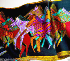 New 100% Silk Abstract Animals Design Horse Pattern Scarves Shawls - Black