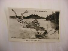 Real Photo Postcard RPPC Fishing Ignac Ontario Canada We Use Big Bait Here #490
