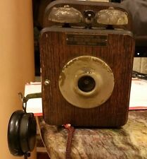 Antique Oak Holtzer-Cabot Electric Co Telephone Wall Phone 100 Years Old, 1900's