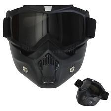 Negro Raw Casco Moto Motocicleta Repuesto Máscara Gafas Protectora Desmontable