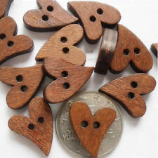100pcs/bag Sewing Button Craft Sienna Heart Shaped Paint Wooden Buttons 2mm Hole