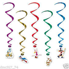 5 BIG TOP Circus Carnival Party Decoration Character Hanging WHIRLS Swirls