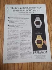 1973 VINTAGE PRINT AD FOR PULSAR LED digital watch Time Computer silver & gold