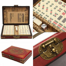 Portable Retro Mahjong Box 144 Tiles Mah-Jong Set In Rare Leather Box excellent