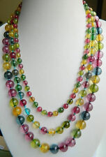 Noblest Multicolor 6-10mm 3row Tourmaline Necklace 17-19""