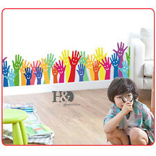Rainbow Hands Arms Mural Art Removable Decal Wall Sticker Kids Living Room Decor