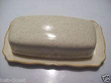 Vintage Retro Ironstone Sunrise Butter Covered Plate Set Dish Tan Gold Japan