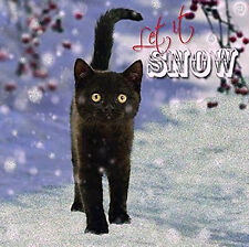 "Chaton Cartes de Noël ""Let it snow"" Pack de 10 jolies cartes de Noël paillettes taches"