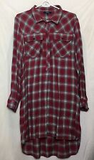 Madewell Women Dress Large 3/4 Button Front Red Plaid Dip Hem Shirt Dress r
