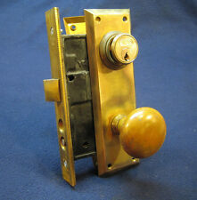 Antique Exterior Entry Mortise Door Lock Set Brass Knobs & Back Plates - YALE