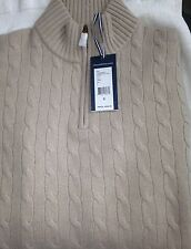 NWT Vineyard  Vines $295 Beige  Cashmere 1/2 Zip Cable Knit Sweater XS  XSmall