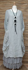 LAGENLOOK HEAVY LINEN AMAZING QUIRKY BOHO 2 POCKETS DRESS*STONE*BUST UP TO 42""