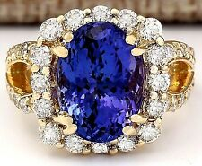 8.95CTW NATURAL TANZANITE AND DIAMOND RING IN 18K YELLOW GOLD