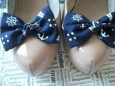PAIR NAVY NAUTICAL PRINT COTTON FABRIC BOW SHOE CLIPS NOVELTY RETRO SAILOR STYLE