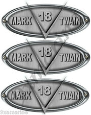 3 Mark Twain Boat Company Vsonic Brushed Metal Look Oval Decal