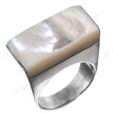 WHITE MOTHER OF PEARL SHELL 925 STERLING SILVER 7 ring