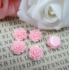 NEW 20pcs Pink Resin Rose Flower flatback Appliques For DIY phone/wedding/craft