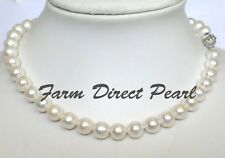 "Long 24"" Inch Genuine ROUND 9-10mm White Pearl Necklace Cultured Freshwater"