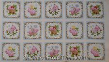 "This Little Pig Pigs Strawberry Fruit Flowers 15 BLKS 23"" Panel ES Cotton Fabric"