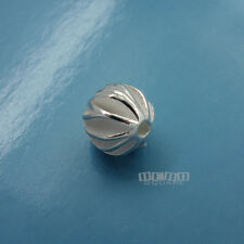 1PC Solid Sterling Silver Waved Ball Round Bead Spacer 10mm (10.7mm) #33075