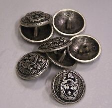 8pc 15mm Irish Inspired Pewter colour Metal Military Blazer Button 2113