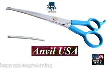 "USA MADE TP/ANVIL PET GROOMING CURVED 7 1/2""Safety/Blunt Tip Point Shear Scissor"