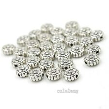 100pcs Tibetan Flower Carved Antique Silver Alloy Spacer Beads Loose Findings C